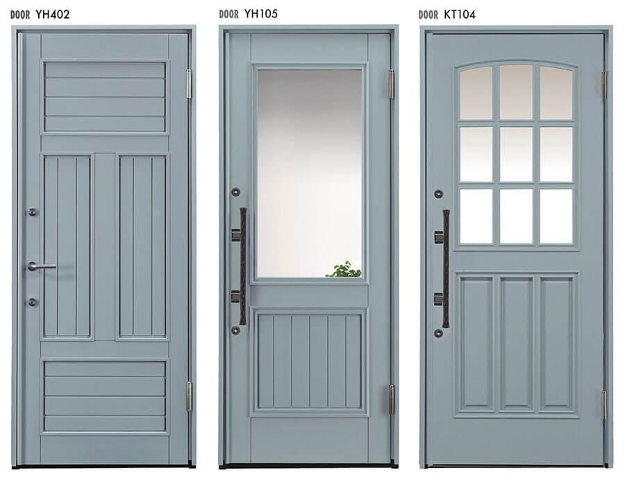 トラフィックグレーの玄関ドア