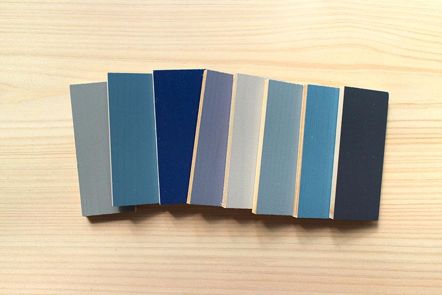 ユダ木工の青系カラーサンプル