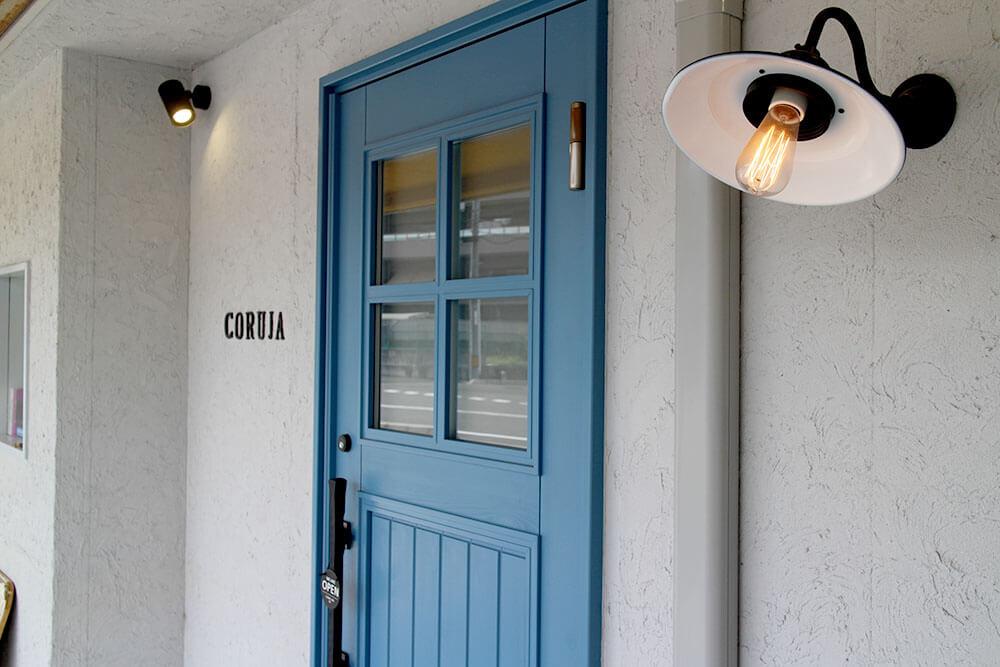 青い木製玄関ドア ユダ木工ヨーロピアン玄関ドア