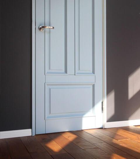 おしゃれなニュアンスカラーのかわいい木製ドア ジーンズスタイル室内ドア