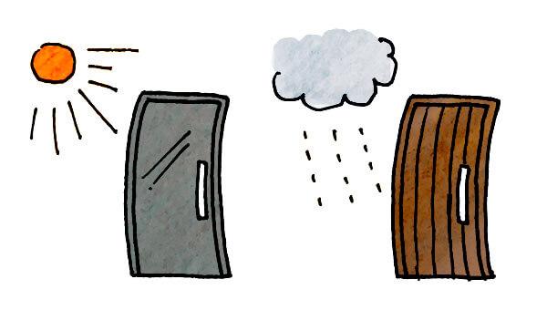 湿気で変形する木製ドアと、熱で変形する鋼製ドア