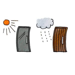 湿気で変形する木製ドア、熱で変形する鋼製ドア