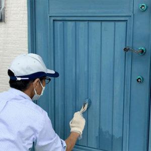 ユダ木工木製玄関ドアのメンテナンスと再塗装