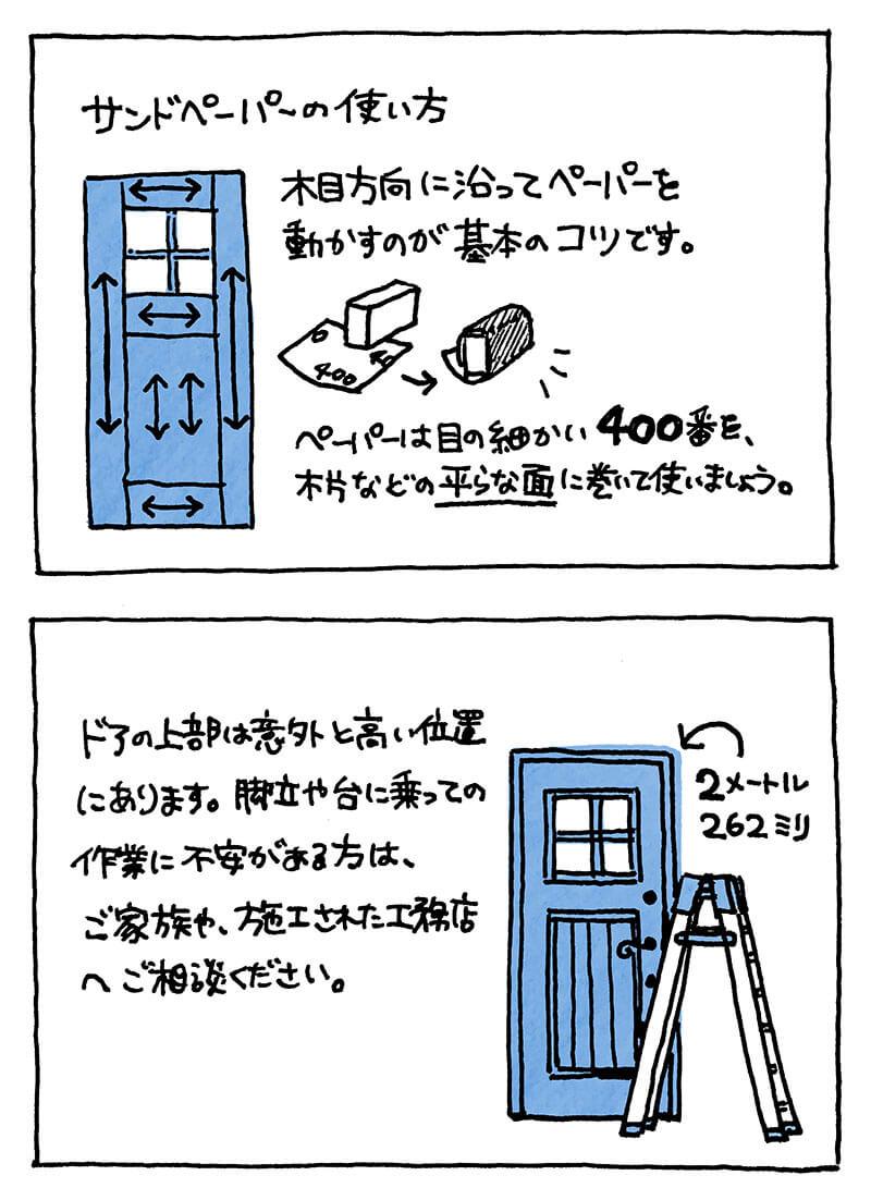 木製玄関ドアのメンテナンス サンドペーパーの使い方