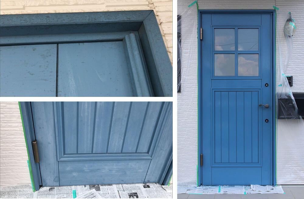 木製玄関ドアのメンテナンス  メンテナンス前後