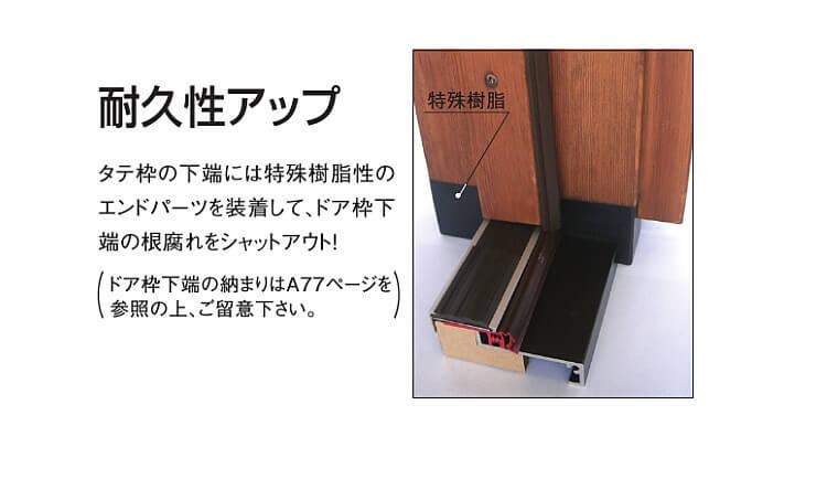 木製玄関ドアの耐久性の秘密 縦枠下端部の樹脂パーツ