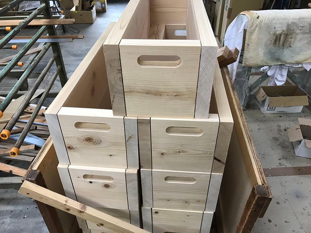 進化した木製プランターたち 塗装前の状態