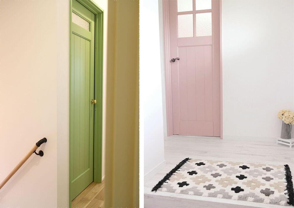 パステルカラーがかわいいカラフル木製室内ドア おしゃれなグリーンとくすみピンク