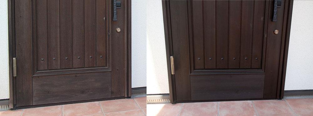 木製ドアの再塗装前と再塗装後